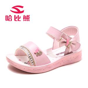【每满100减50】哈比熊女童凉鞋儿童公主鞋中大童女孩韩版沙滩鞋夏季新款潮