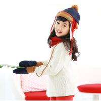 儿童帽子围巾手套三件套男女儿童手套保暖护耳帽子套装