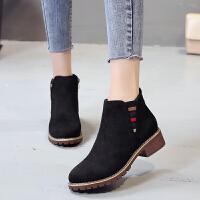 学生平底马丁靴女短靴英伦风2018冬季新款韩版百搭短筒加绒棉靴子