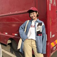 条纹拼接深蓝色牛仔衬衫女长袖韩版学生百塔宽松学院风复古不规则