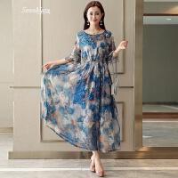 雪纺连衣裙夏季2018新款韩版修身显瘦印花荷叶边夏天波西米亚长裙 蓝色印花