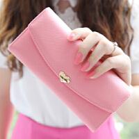 新款时尚女士钱包女长款日韩大钞夹爱心学生薄钱包皮夹子两折钱夹