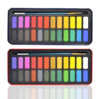 24色固体水彩颜料 初学者水彩颜料套装 儿童写生水彩颜料 铁盒装