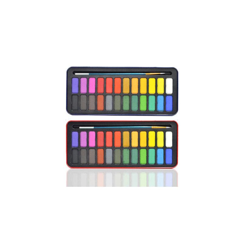 24色固体水彩颜料 初学者水彩颜料套装 儿童写生水彩颜料 铁盒装 铁盒颜色随机发送 有需要可留言 红/蓝