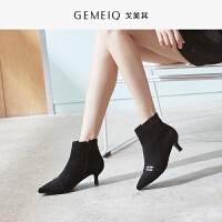 戈美其冬季新款细跟韩版百搭绒面靴子加绒细高跟时装靴尖头女裸靴