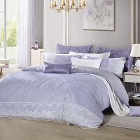 LOVO家纺 涤棉提花蕾丝四件套件 奢华单双人被套床单 尤思琪