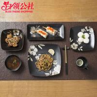 白领公社 陶瓷餐具套装 手绘芙蓉花陶瓷碗碟盘筷餐具组合套装欧式创意复古家用盘子骨瓷碗筷套装