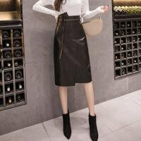 半身裙 女士高腰不规则裙摆中长款PU半身裙2019年冬季新款欧美时尚潮流女式修身洋气女装包臀皮裙