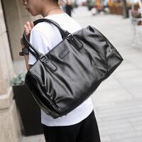 男士旅行包商务休闲男包大容量单肩手提包斜跨包潮流 黑色