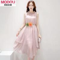粉色无袖雪纺连衣裙中长款夏季新款女装韩版时尚裙子修身长裙