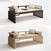 新中式罗汉床实木布艺沙发现代简约贵妃床中式罗汉塌定制家具 组合
