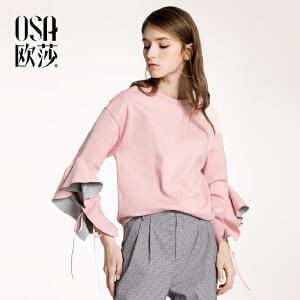 欧莎2018春装新款女装圆领套头个性系带袖口卫衣