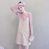 秋装女装韩版中长款吊带裙pu皮V领无袖连衣裙+喇叭袖打底衫两件套