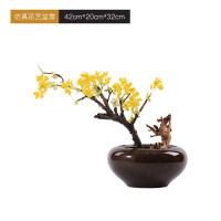 新中式黄色果树盆景摆件仿真微观花艺盆栽室内样板房间客厅艺术品 仿真花艺盆景