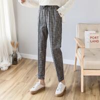 哈伦裤 女士松紧腰英伦复古格子哈伦裤2020年秋季新款韩版时尚潮流女式宽松休闲女装小脚裤