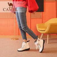 camel骆驼女冬季新款马丁靴 低跟韩版百搭靴子女粗跟防滑系带女靴