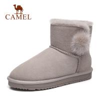 骆驼2018冬季新款磨砂皮毛球雪地靴女保暖中筒休闲女靴防滑靴子