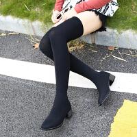 过膝长靴2018女冬新款丝袜子靴长筒靴粗跟平底水钻方头弹力高筒靴 黑色