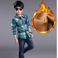 新款中大童装格子加绒衬衣男童保暖衬衫长袖儿童加厚上衣男孩装