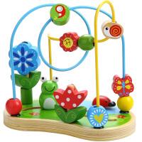 男女孩益智婴儿童木制宝宝积木大号绕珠玩具