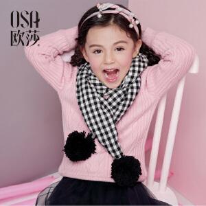 欧莎2017冬季新款女宝宝毛衣加绒圆领女童套头毛针织衫