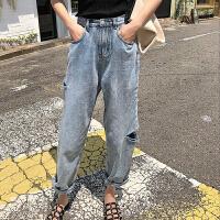 牛仔裤 女士高腰破洞卷边九分直筒裤2020年秋季新款韩版时尚女式宽松休闲女装老爹裤