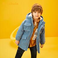 巴拉巴拉儿童棉衣童装秋冬2019新款男童宝宝中长款工装棉袄外套厚