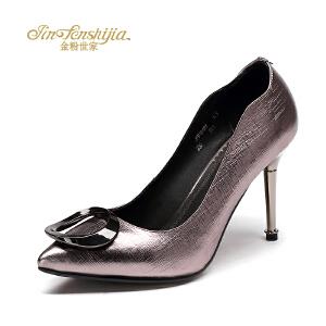 金粉世家 红蜻蜓旗下 秋季新款高跟鞋女尖头浅口细跟时尚简约单鞋