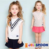 【每满200减100】韩国童装JELISPOON吉哩熊2018夏季新款女童美少女短裙两件套