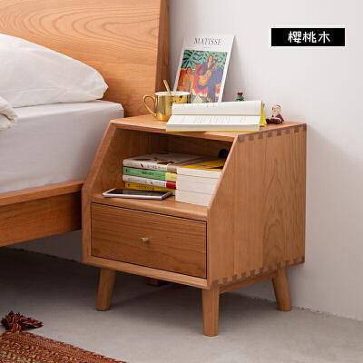 北欧床头柜白橡樱桃木收纳柜实木小柜子现代简约 樱桃木  组装 品质家具,放心选购;质量保证,售后无忧。