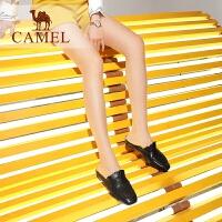 camel骆驼女鞋 2019春季新品时尚褶边摩登穆勒鞋细腻羊皮平底包头拖鞋