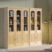 松木实木书柜书架原木色自由组合两门三门书橱带玻璃门套房家具