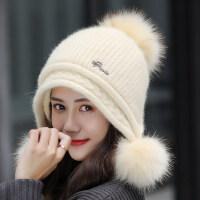 户外保暖加绒针织护耳子 韩版潮兔毛帽子女 甜美可爱百搭毛线帽
