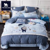 商场同款儿童四件套棉水洗棉男孩下铺单人床棉1.2米床三件套床上用品