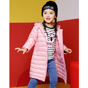 欧莎童装2017冬季男童女童中长连帽薄款白鸭绒羽绒服反季清仓儿童外套