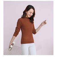 秋冬季女装修身加绒加厚短款半高领套头毛衣女花边紧身针织打底衫