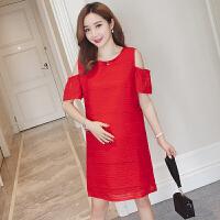 孕妇夏装时尚连衣裙潮妈怀孕期大红色露肩显瘦上衣中长夏季孕妇裙