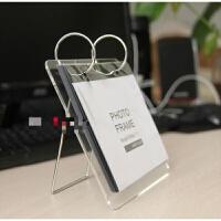 6寸亚克力水晶翻页相册相框创意DIY支架台历架摆台Q 透明 6寸
