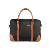 手提包男士公文包商务横款电脑包简约公事单肩斜挎包帆布包男包包 黑色 商务的味道