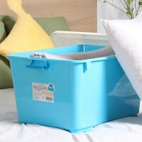大号塑料收纳箱衣物玩具加厚有盖储物箱80L*2 2个装】80L带滑轮】