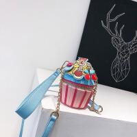 糖果色手工刺绣纸杯蛋糕造型手拎包零钱包单肩迷你手提斜挎小包包