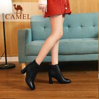 camel骆驼女鞋冬季新款短靴 时尚休闲韩版百搭真皮靴子高跟女靴