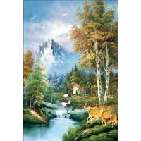 成人1000片木质拼图定制1500风景油画智力玩具 世外森林