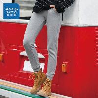 真维斯休闲裤女冬装新款黑色束脚抓毛底修身运动裤长裤卫裤