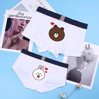 情侣内裤纯棉性感U凸卡通熊纯色可爱潮男平角女三角宽边字母套装 白色 PBT白 布朗熊