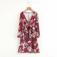 女装春季欧美风长袖天鹅绒打结连衣裙印花套头修身短裙