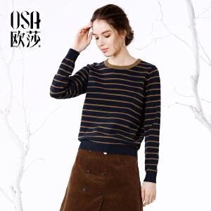 OSA欧莎2017冬装新款女装条纹圆领套头舒适毛针织衫