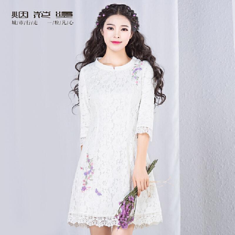 烟花烫2018秋装新款女装复古修身纯色七分袖蕾丝连衣裙 如霜