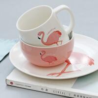 包邮 2017新火烈鸟陶瓷餐具碗碟盘杯套装 创意陶瓷杯 卡通方盘