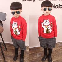 新款童装男童女童猫圆领套头毛衣儿童粗线针织衫毛线衣新年款